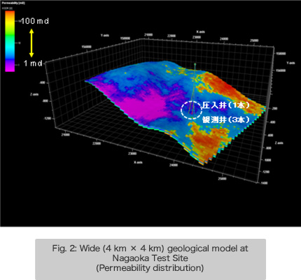 Fig. 2: Wide (4 km × 4 km) geological model at Nagaoka Test Site (Permeability distribution)