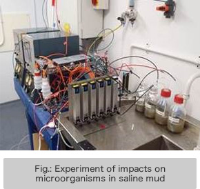 Fig.: Experiment of impacts on microorganisms in saline mud